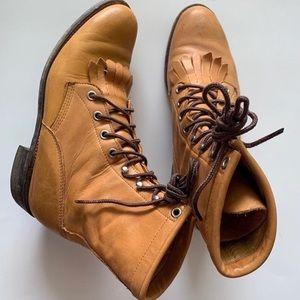 JUSTIN Hiram Roper Fringe Western Lace-Up Boots 7M